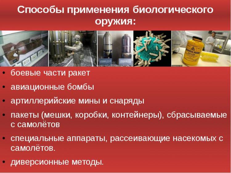 Способы применения биологического оружия.