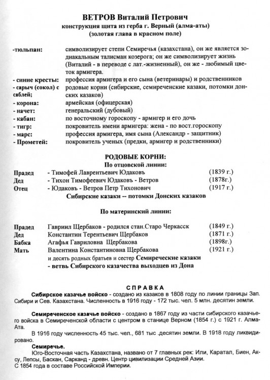 семантика герба Ветрова В.П.