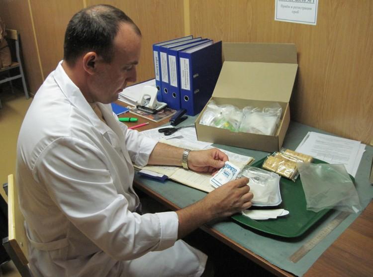в лаборатории ветеринарно-санитарной экспертизы